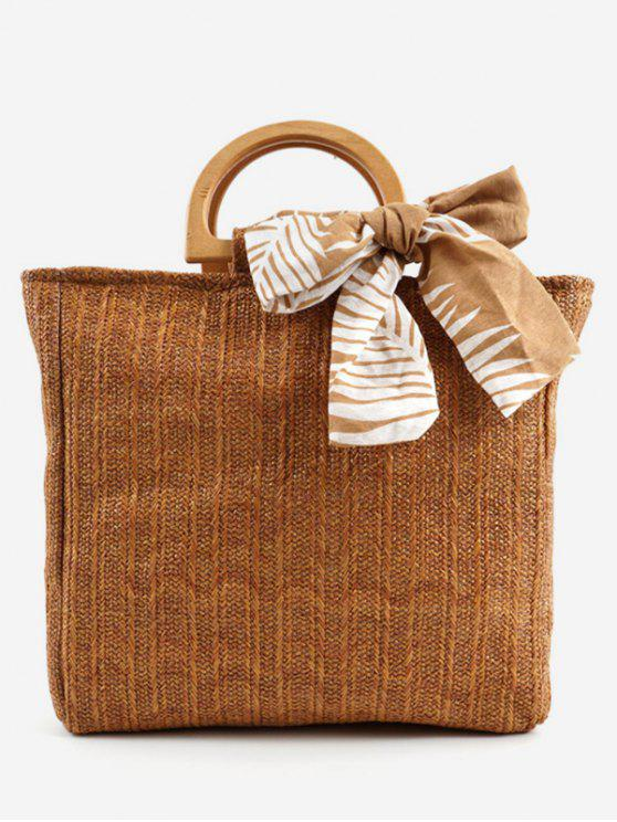 fashion Casual Woven Wooden Handle Tote Bag - BROWN