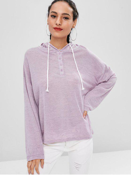 women's Half Button Loose Hoodie - MAUVE ONE SIZE
