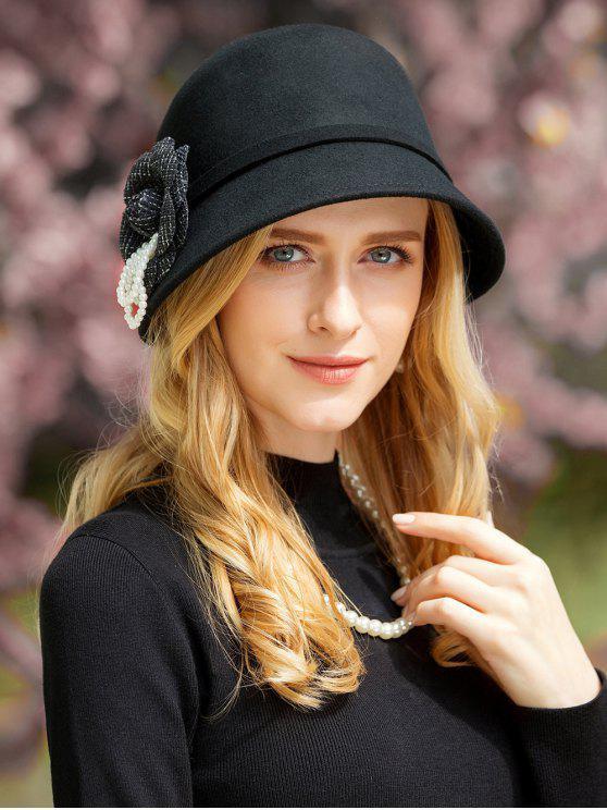 Chapeau Élégant de Couleur Unie Motif Floral pour Thé et Fête - Noir