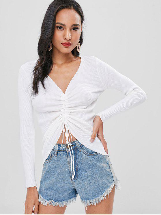 shops Cinched Ribbed Knitted Top - WHITE ONE SIZE