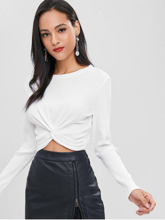 Twist Vorder Geripptes T-Shirt - Weiß S