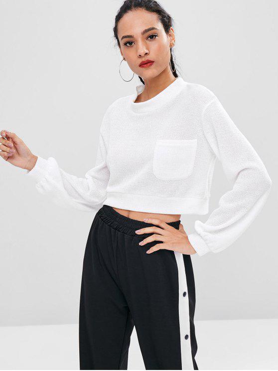 trendy Pocket Crop Sweatshirt - WHITE L