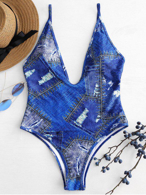 الدينيم طباعة الغطس ملابس السباحة - كوبالت بلو M