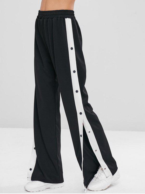 women Snap Button Wide Leg Pants - BLACK L