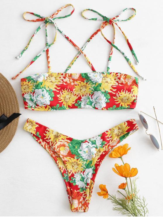 Bikini Fleuri à Epaule Nouée - Multi L