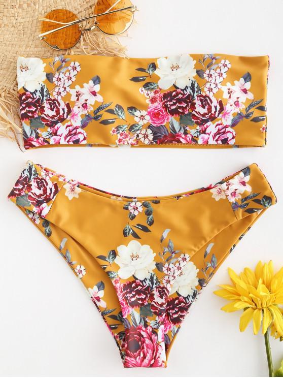 12591b454d54e 36% OFF] 2019 ZAFUL Boning Floral Bikini Set In SCHOOL BUS YELLOW ...