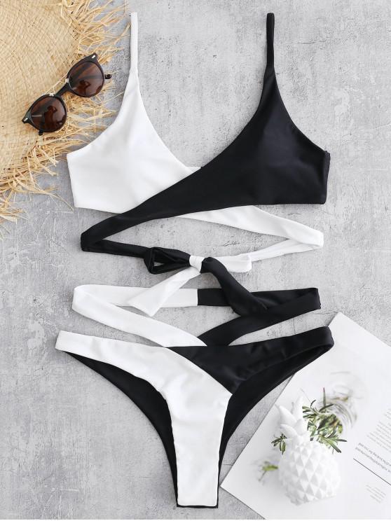 outfits Two Tone Wrap Bikini Set - BLACK L