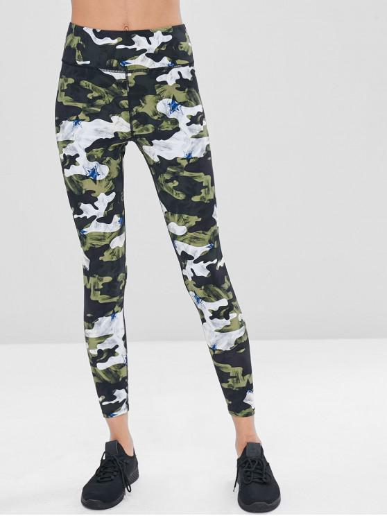 fancy Camouflage High Waisted Gym Leggings - PINE GREEN S