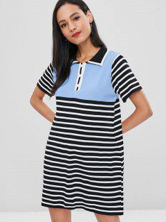 Half Button Contrast Striped Dress - Multi