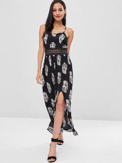 Crochet Trim Leaves Cami Dress - Black L