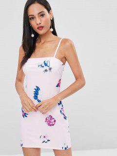 Knoten Rücken Blumen Cami Kleid - Schwein Rosa M