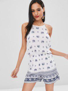 Cut Out Back Elephant Romper - White S