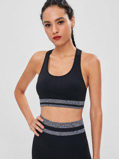 Racerback Contrast Padded Sports Bra - Black S