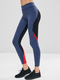 Color Block High Waisted Leggings - Dark Slate Blue M