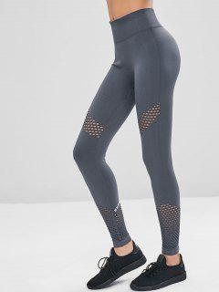 High Waisted Perforated Gym Leggings - Gray L