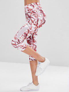 Tie Dye Capri Sports Leggings - Red L