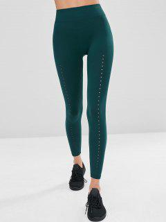 High Waisted Perforated Workout Leggings - Deep Green M