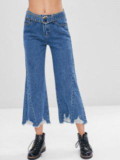 Frayed Hem Belted Ripped Jeans - Denim Dark Blue M