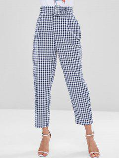 Gingham Pockets Belted High Waisted Pants - Multi S