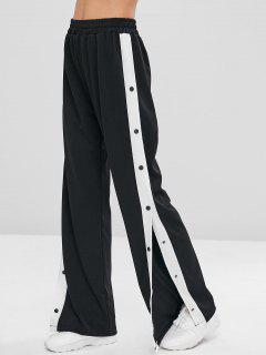 Snap Button Wide Leg Pants - Black M