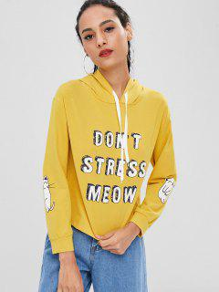 Letter Cat Pullover Graphic Hoodie - Yellow