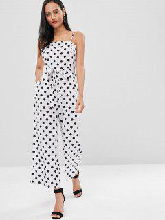 Polka Dot Belted Cami Jumpsuit - Milk White M