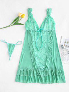Sheer Lace Tulle Mini Babydoll Lingerie Set - Green