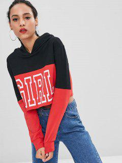 Girl Graphic Two Tone Hoodie - Black M