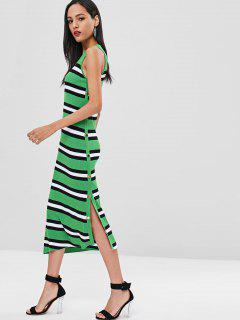 Maxi Striped Slit Knit Tank Dress - Green L