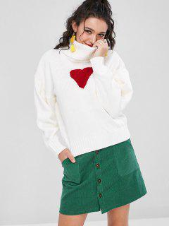 Heart Faux Pearls Sweater - White M