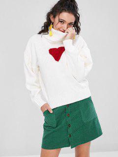 Herz Faux Perlen Pullover - Weiß L