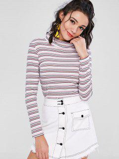 Long Sleeve Turtleneck Striped Ribbed Tee - Multi M