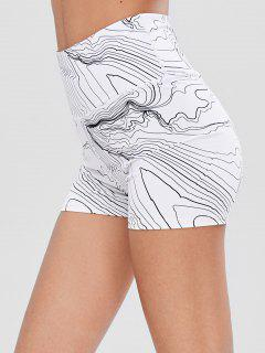 Abstract Print High Waisted Gym Shorts - White L