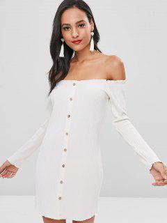 Buttons Off Shoulder Fitted Dress - Beige L