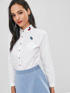 Front Pocket Embroidery Cotton Shirt - White M