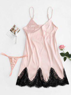 Satin Slip Dress Et G String Lingerie Set - Chewing-gum Rose  M