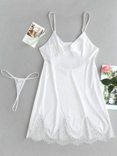 Vestido De Satén Y Conjunto De Lencería G String - Blanco L