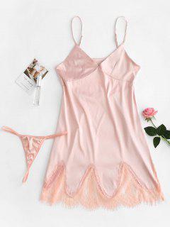 Satin Slip Dress And G String Lingerie Set - Pink M