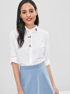 Cat Embroidery Casual Shirt - White M