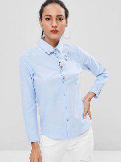 Embroidered Funny Multiple Buttons Front Shirt - Sky Blue M