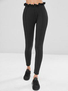 Frills Trim High Waisted Gym Leggings - Black S