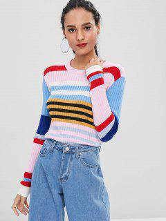 Ribbed Color Block Sweater - Multi S