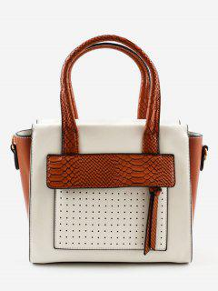 Contrasting Color Personalized Chic Handbag - Brown
