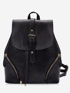 Chic Flapped Functional Travel Backpack - Black