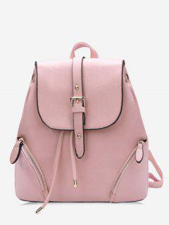 Chic Flapped Functional Travel Backpack - Light Pink