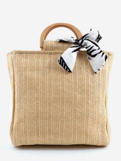 Casual Woven Wooden Handle Tote Bag - Apricot