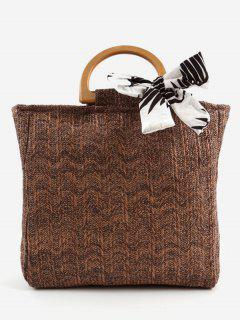 Casual Woven Wooden Handle Tote Bag - Coffee