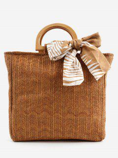 Casual Woven Wooden Handle Tote Bag - Brown