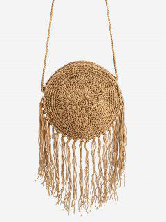 Round Woven Leisure Holiday Crossbody Bag - Brown
