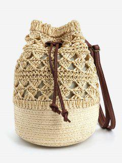 Hollow Out Woven Vacation Beach Bucket Bag - Apricot